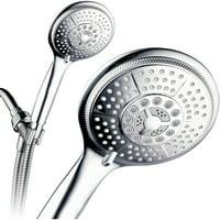 "PowerSpa Extra-Large 5"" Face 7-Setting Luxury Rainfall Hand Shower, Chrome"