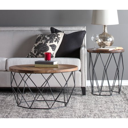 Kosas Home Chester Wood And Iron Geometric Round Coffee Table By