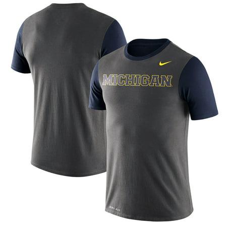 Michigan Wolverines Nike Wordmark Championship Drive Performance Tri-Blend T-Shirt - Charcoal (Nike Mens Championship Game)