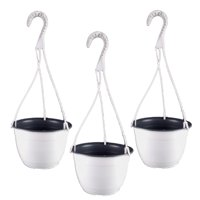 8.25 Inch TEKU Plastic Hanging Basket White/Gray (3 Pack)