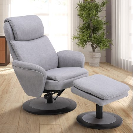 Comfort Recliner (Comfort Chair by Mac Motion Denmark Recliner and Ottoman in Light Grey Fabric)