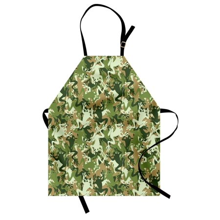 Animal Apron Skull Camouflage Design with Various Frog Pattern Different Tones Art Print, Unisex Kitchen Bib Apron with Adjustable Neck for Cooking Baking Gardening, Sage Pine Green, by Ambesonne for $<!---->
