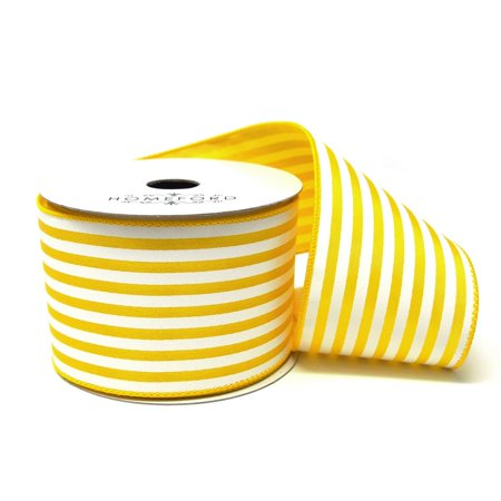 Cabana Stripes Satin Wired Ribbon, Yellow, 2-1/2-Inch, 10 Yards - Yellow Ribbons