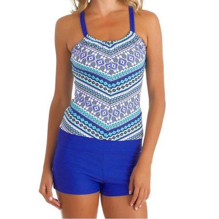 Plus Size Women's Tankini Set Swimwear Swimsuit Push Up Padded Bikini Set Swimwear Bathing Suit Summer Beach Ware Blue S-XXXL