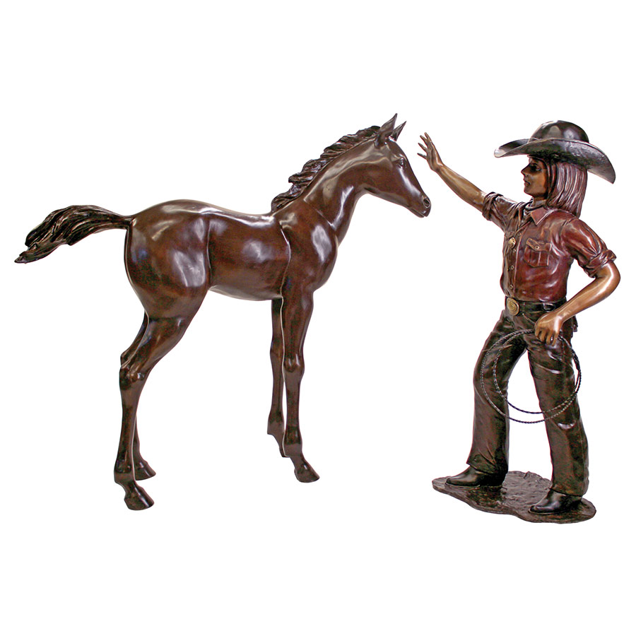 Rodeo Dreams: Cowgirl with Horse Cast Bronze Garden Statue Set by Design Toscano