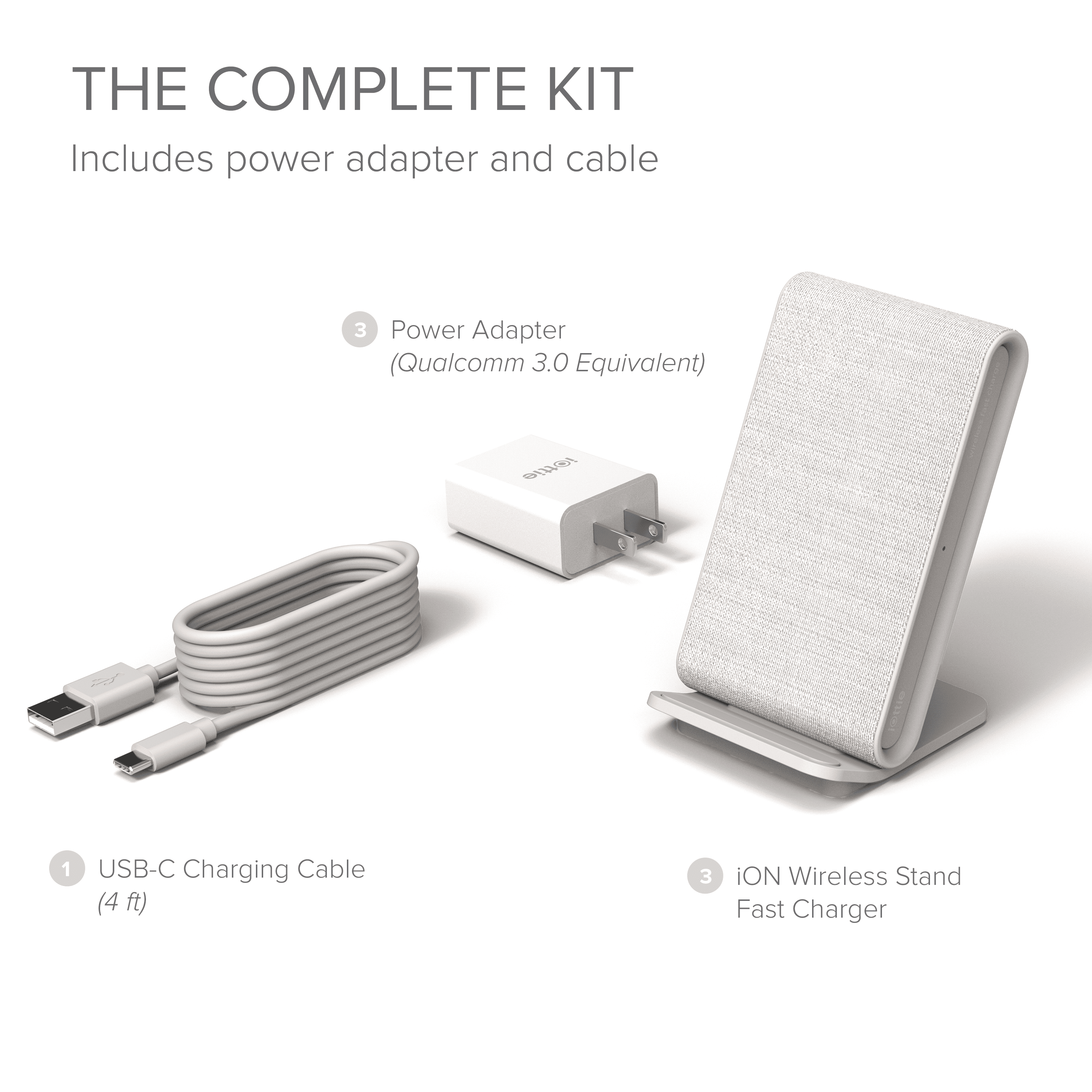 Qi-Certified Charger 7.5W for iPhone Xs Max R 8 Plus 10W for Samsung S9 Note 9 Ash iOttie iON Wireless Fast Charging Stand Includes USB C Cable /& AC Adapter