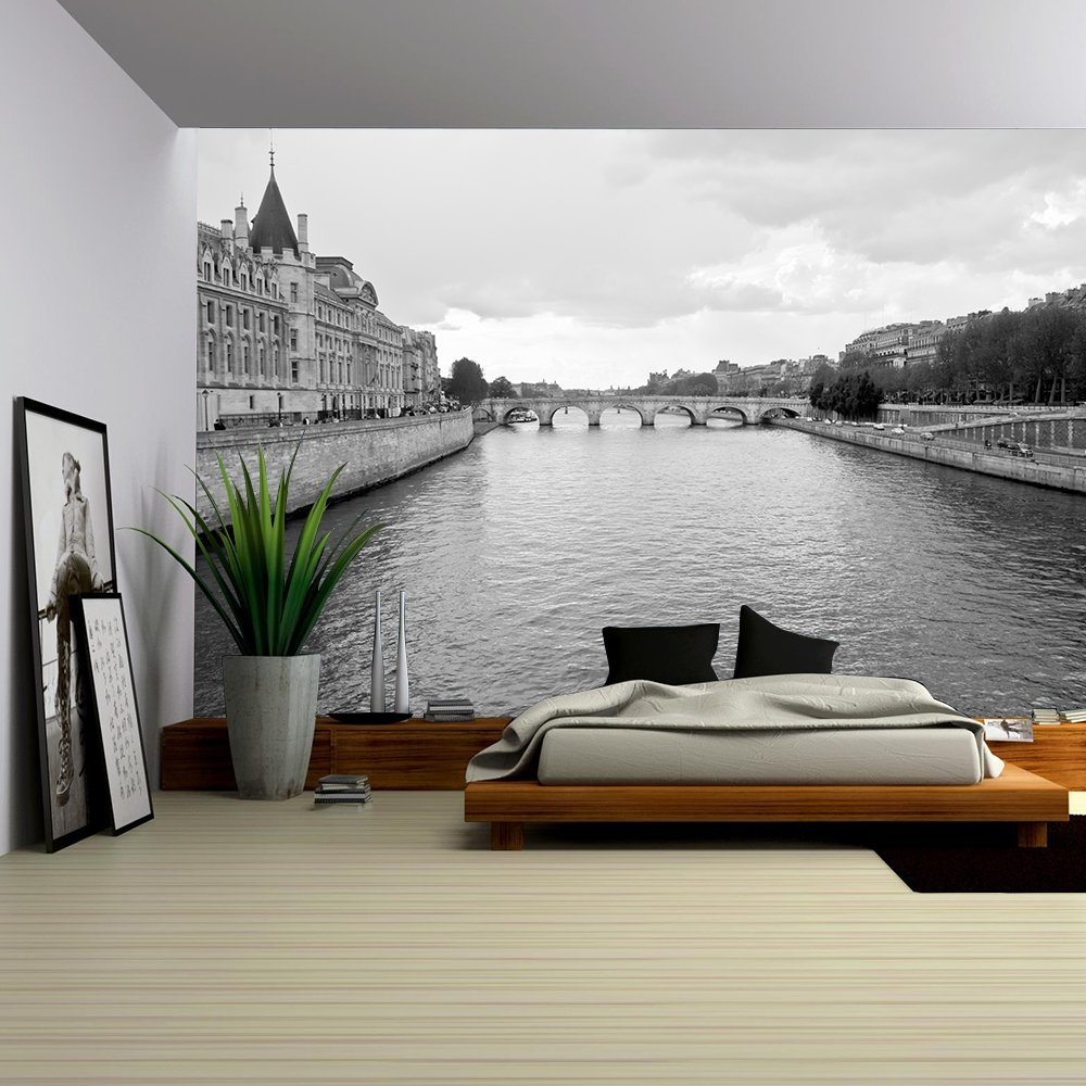 wall26 - Seine River and Old Bridge in Paris - Removable Wall Mural | Self-adhesive Large Wallpaper - 66x96 inches