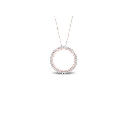 1/4Ct TDW Diamond 10K Rose Gold Circle Necklace (I-J, I2) Concentric Circles Diamond Necklace