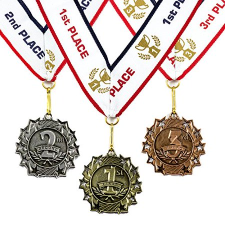 1st to 3rd Place Award Medals w/ Ribbon - Heavy Metal Gold Silver Bronze Finish](Award Metals)