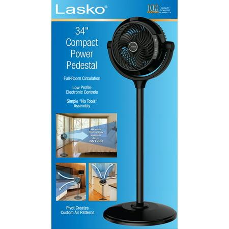 """Best Lasko 34"""" Compact Power Pedestal Fan, Black deal"""