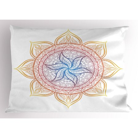 Rainbow Mandala Pillow Sham Blossoming Flower Design Middle Eastern Culture Ornament Asian Zen Elements, Decorative Standard Size Printed Pillowcase, 26 X 20 Inches, Multicolor, by - Rainbow Flower