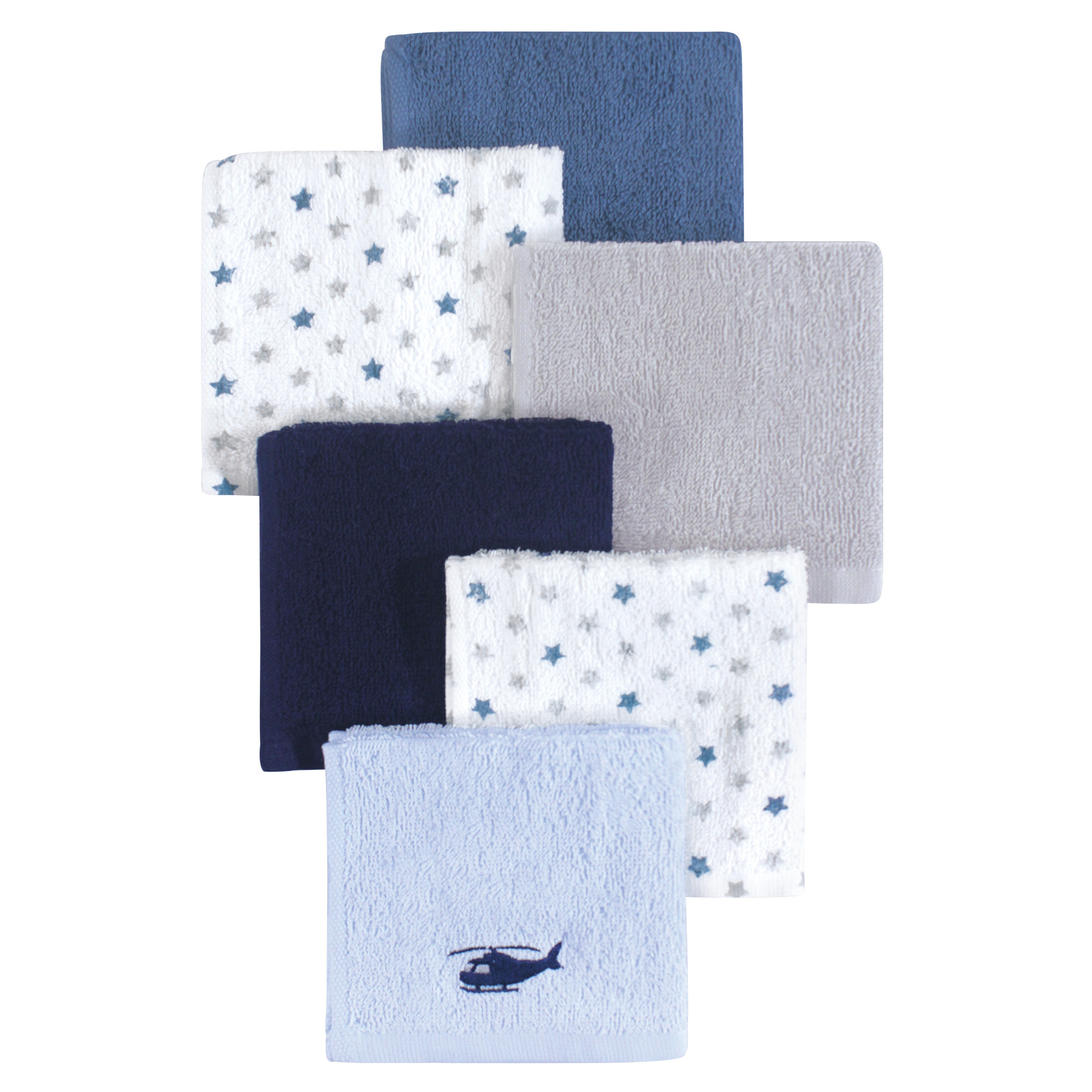 Hudson Baby Woven Terry Washcloths, 6 Pack, Helicopter by Hudson Baby