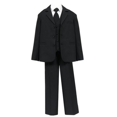 Big Boys Black 5 Pcs Shirt Vest Jacket Tie Pants Husky Suit