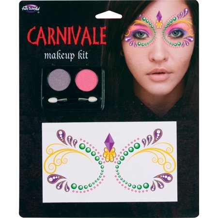 Fun World Masquerade Lace Face Carnivale Halloween 4pc Makeup Set, .13 - Carnivale Chicago Halloween