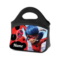 Personalized Miraculous Ladybug and Tikki Lunch Tote, Black