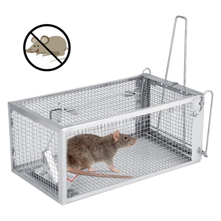 Qiilu Pro-Quality Live Animal Humane Trap Catch 26.2*14*11.4Cm Rat Trap Cage For Small Live Animal Pest Rodent Mouse Control Bait Catch