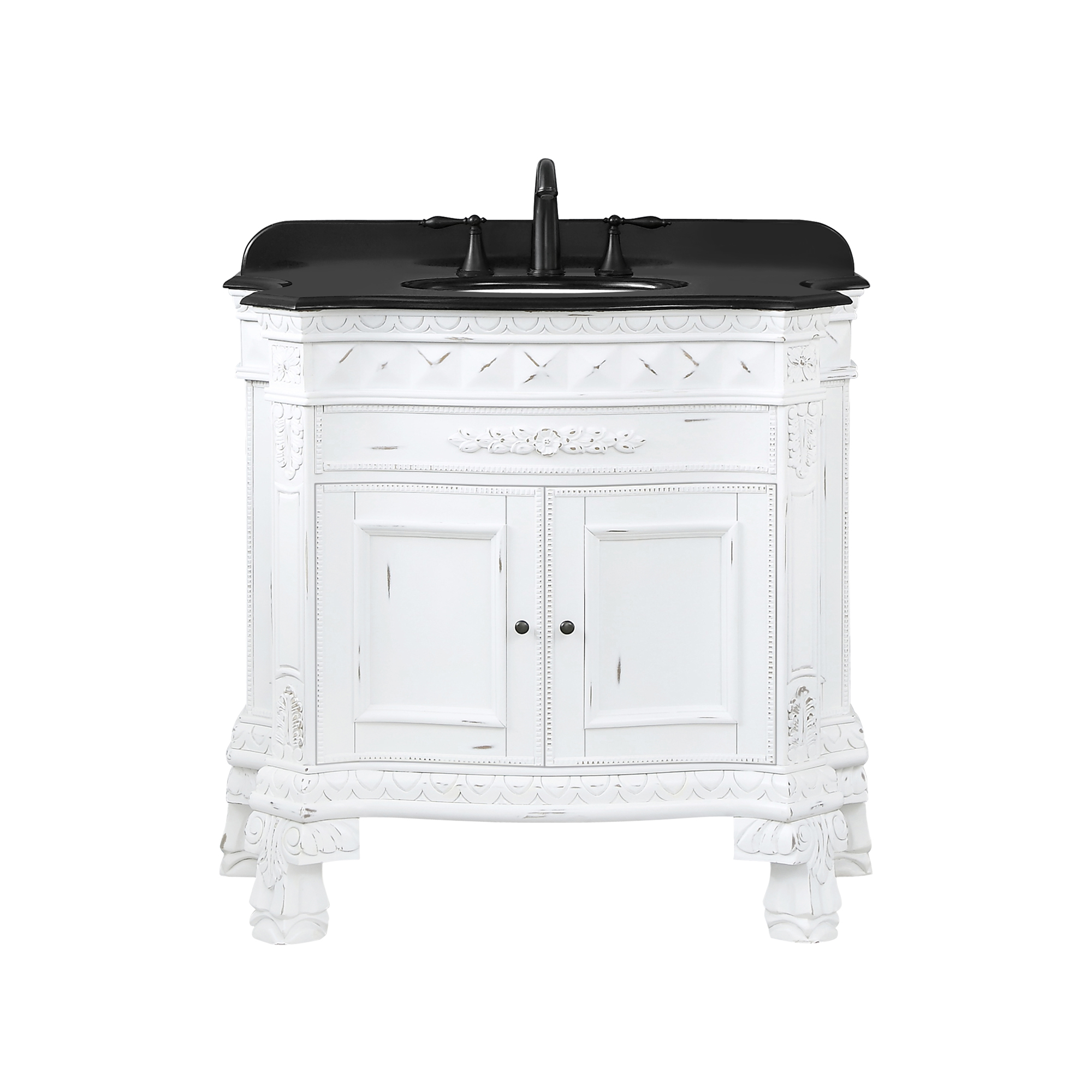 Ove Decors York 36 In Antique White Vanity With Black Granite Top Walmart Com Walmart Com