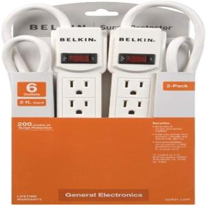 Belkin F5C048-2 6-Outlets Surge Suppressor - 6 Receptacles 2FT CORD SLEEVE PACKAGING