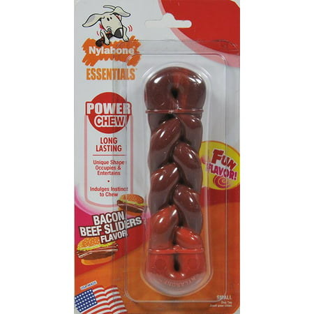 Nylabone Essentials Power Chew Braid Bone Bacon Beef Slider, Small