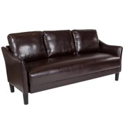Flash Furniture Asti Upholstered Sofa in Brown Leather