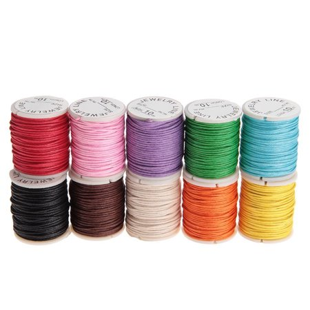 10pcs 10M 1MM Waxed Cotton Cords Strings Ropes for DIY Necklace Bracelet Craft Making (Random Color)