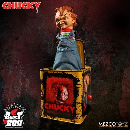 Mezco Scarred Chucky Burst a Box 14 inch Bride of Chucky *SLIGHTLY DENTED BOX*