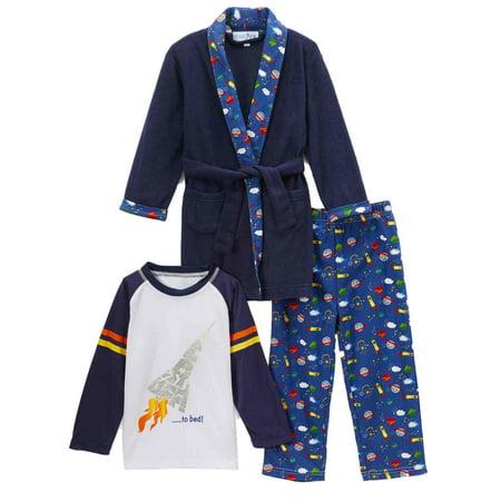 - Toddler Boys Plush Blue Blast Off Bath Robe & Pajamas Sleep Set Rocket Ship
