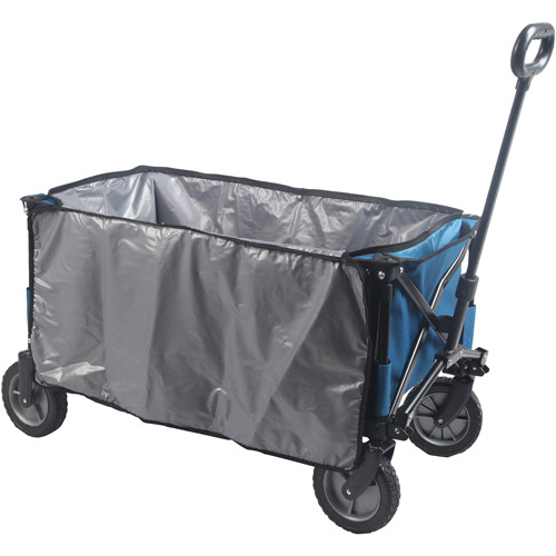 Folding Mobile Cooler Wagon, Easily Stows For Storage