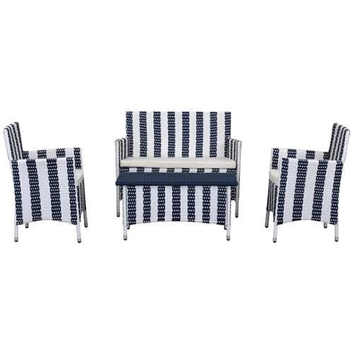 Safavieh  PAT2508  Outdoor Furniture  Figueroa  Furniture  Outdoor Chat Sets  vy / White Stripe