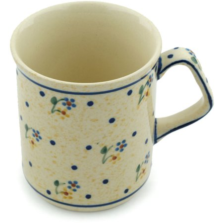 Polish Pottery 7 oz Mug (Country Meadow Theme) Hand Painted in Boleslawiec, Poland + Certificate of Authenticity