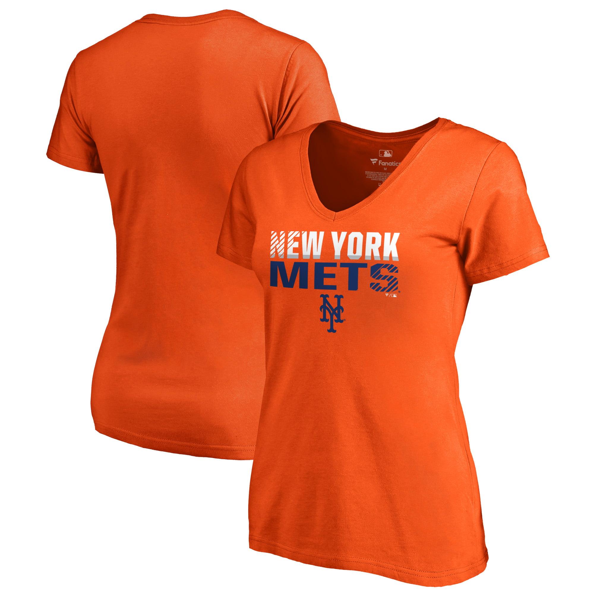 New York Mets Fanatics Branded Women's Fade Out Plus Size V-Neck T-Shirt - Orange