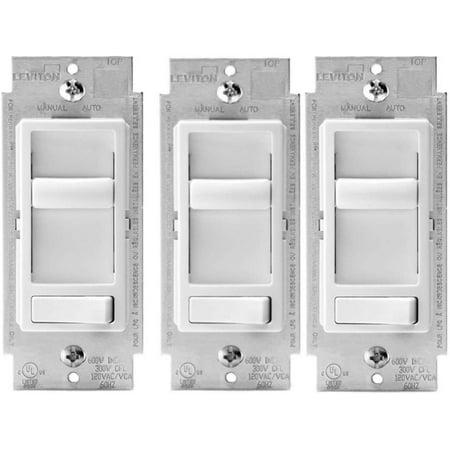 Leviton 6674-P0W SureSlide Universal 150-Watt LED and CFL/600-Watt Incandescent Dimmer, White (3 Pack) Leviton Sureslide Lighting