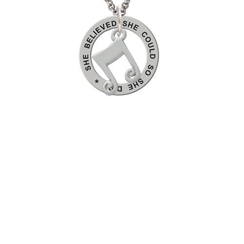Double Music Note She Believed She Could Affirmation Ring Necklace