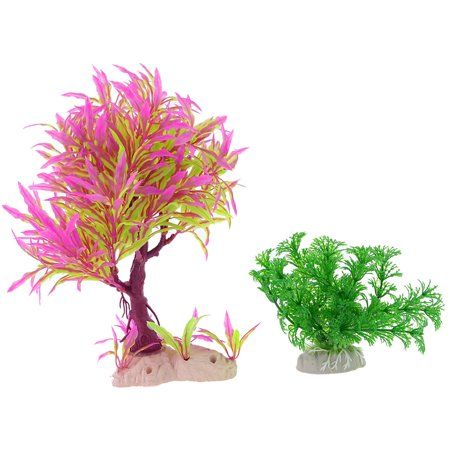 2 x Lime Green Purple Plastic Aquarium Landscape Simulational Aquatic Plant