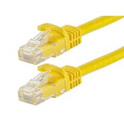 Monoprice Flexboot Cat5e Ethernet Patch Cable - Network Internet Cord - RJ45, Stranded, 350Mhz, UTP, Pure Bare Copper Wire, 24AWG, 25ft, Yellow