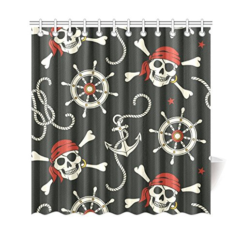 Gckg Pirates Shower Curtain Nautical Anchors Polyester Fabric