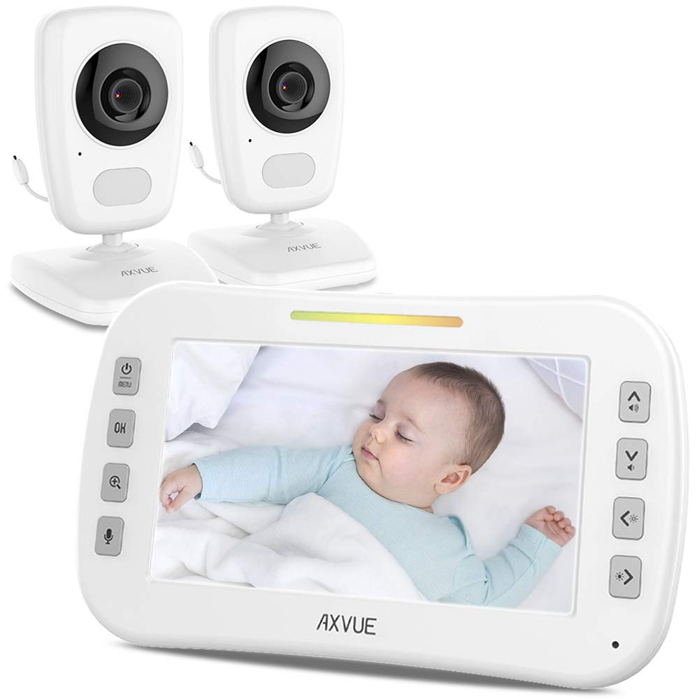 Video Baby Monitor with Two Cameras and Wide Screen by Axvue, Model E632, Auto Switch Camera Viewing