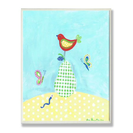 Green White Check Pear Red Bird Rect Wall Plaque