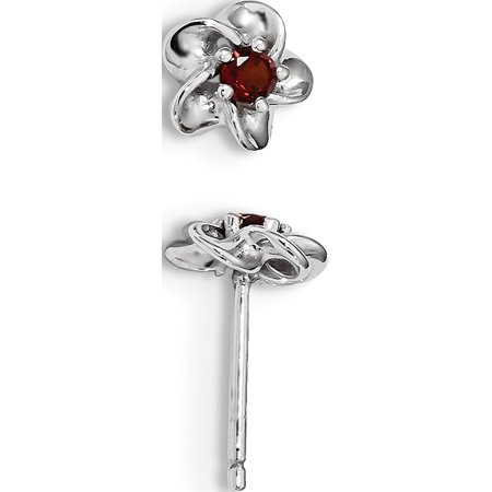 Leslies Fine Designer Sterling Silver Sterling Silver Rhodium-plated Floral Garnet Post Earrings (Length=14.5) (Width=8) Designer Floral Earrings