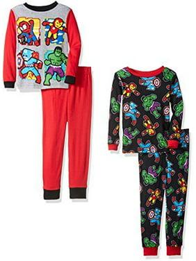 Marvel Boys' Avengers 4-Piece Pajama Set, Heroically Red,8