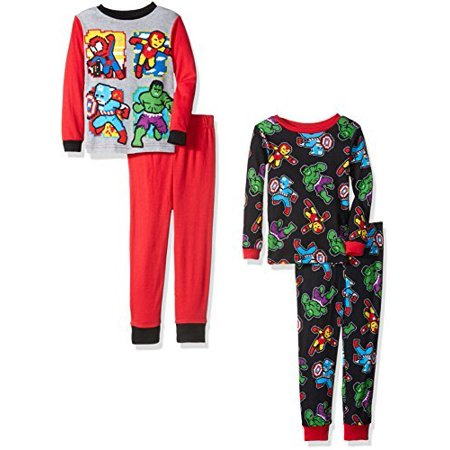 Marvel Boys' Avengers 4-Piece Pajama Set, Heroically Red,8 - Marvel Boys