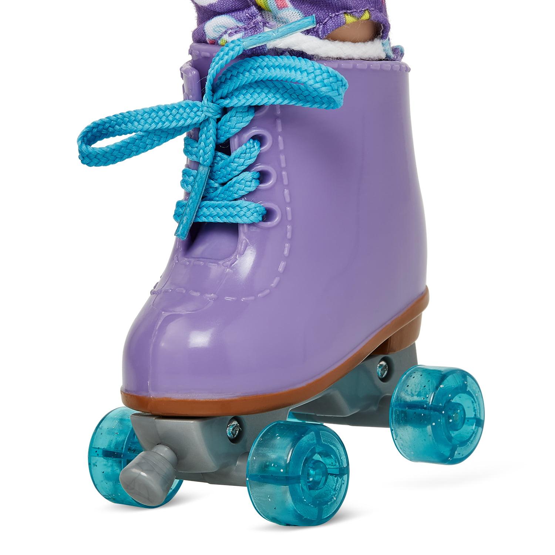 """OG 18"""" Doll American Girl MY LIFE AS DOLL Purple /& Blue ROLLER SKATES NEW"""