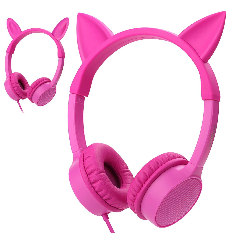 Kids Headphones, Vogek 2 in 1 Devil/Deer Horn Ear Wired On-Ear Headphones Headsets with 85dB Volume Limited, Children Headphones for Kids - Red