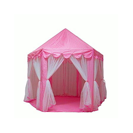 Princess Tent for Girls Indoor and Outdoor Hexagon Play Castle House Decorative LED Star Lights, - Princess Castles For Girls