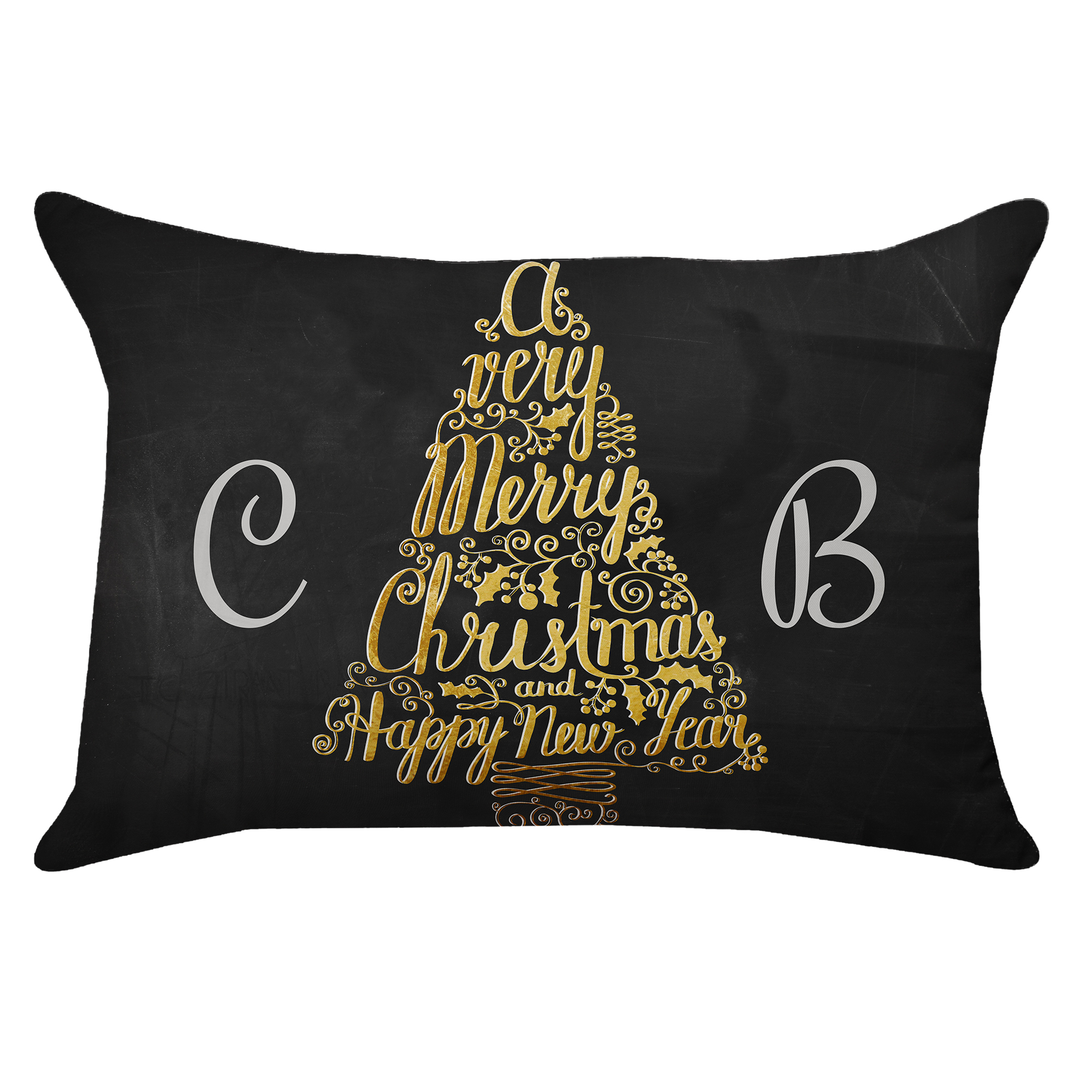 Personalized Metallic Tree Poplin Rectangular Throw Pillow in Black