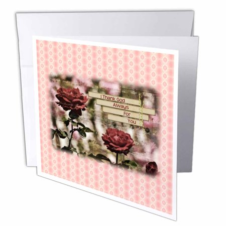 Romantic Halloween Cards (3dRose Romantic Rose Garden Floral I Thank God For You - Inspirational, Greeting Cards, 6 x 6 inches, set of)