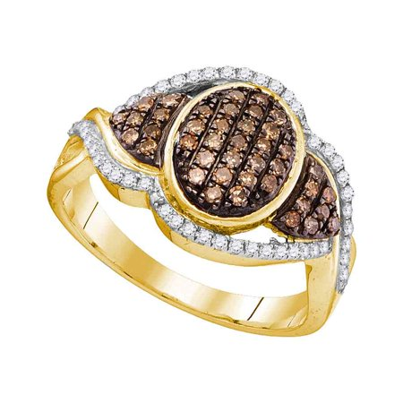 10kt Yellow Gold Womens Round Cognac-brown Colored Diamond Oval Frame Cluster Ring 1/2 Cttw