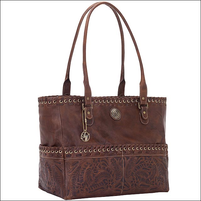 AW638 AMERICAN WEST CHESTNUT BROWN LEATHER LADIES CARRY ON TOTE HANDBAG PURSE