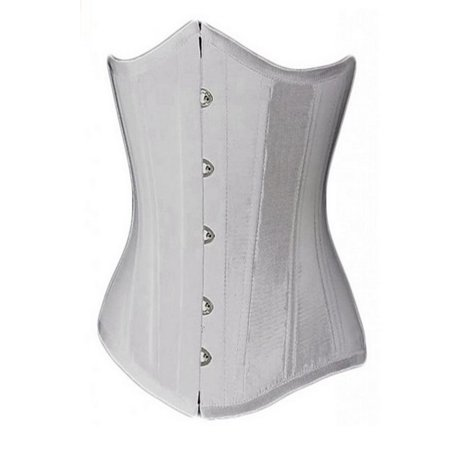 bdbacc892a8ef MUKA - Muka Women s Boned Plus Size Overbust   Underbust Corset Bustier  Waist Cincher-white satin-S - Walmart.com