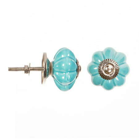 Decorative Knob - Ceramic - Fancy - Blue with Silver Center Decorative Wood Knobs
